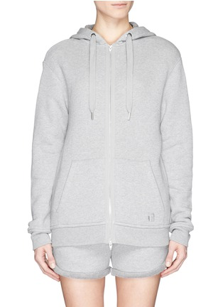 Main View - Click To Enlarge - T By Alexander Wang - Heavy French terry logo zip hoodie