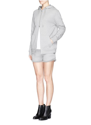 Figure View - Click To Enlarge - T By Alexander Wang - Heavy French terry logo zip hoodie