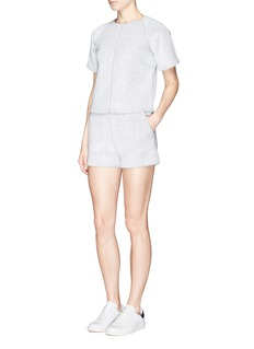 T BY ALEXANDER WANG French terry overlay scuba jersey shorts