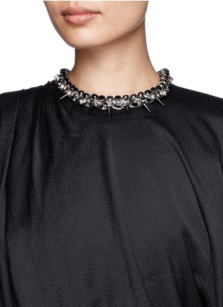 Figure View - Click To Enlarge - Joomi Lim - Skull spike cotton braid necklace