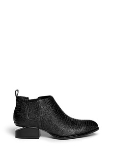 ALEXANDER WANG  'Kori' cut-out heel lizard embossed leather Chelsea boots