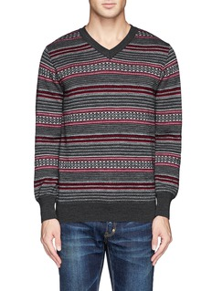 WHITE MOUNTAINEERING Contrast pattern stripe wool sweater