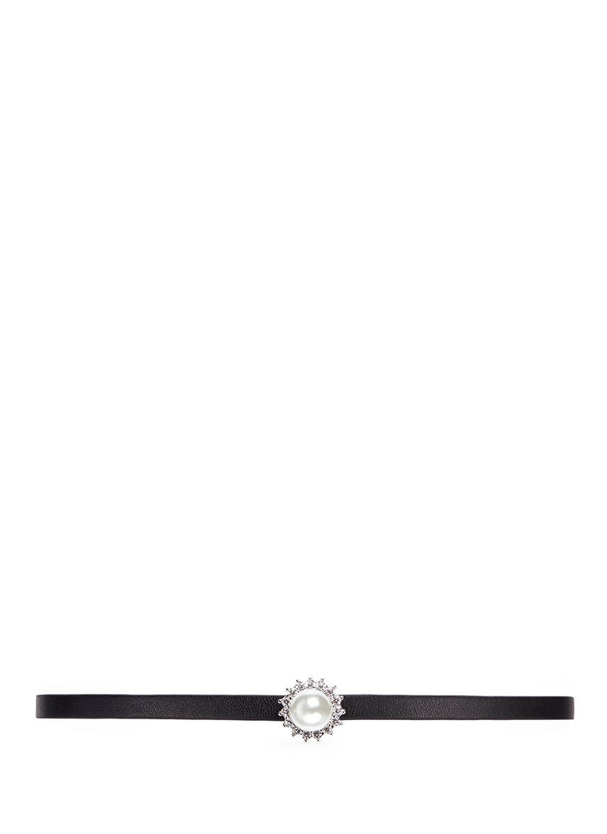 Cubic zirconia pavé pearl leather choker by CZ by Kenneth Jay Lane
