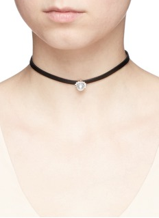 CZ by Kenneth Jay Lane Cubic zirconia pavé pearl leather choker