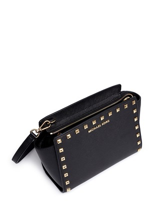 Detail View - Click To Enlarge - Michael Kors - 'Selma Stud' medium saffiano leather messenger bag