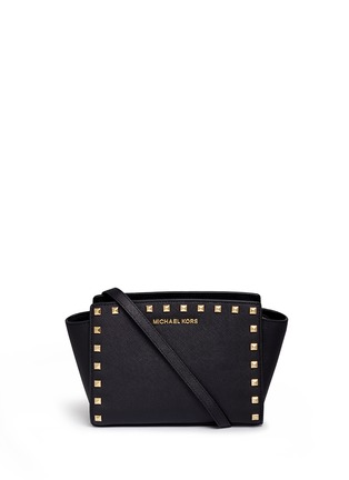 Main View - Click To Enlarge - Michael Kors - 'Selma Stud' medium saffiano leather messenger bag