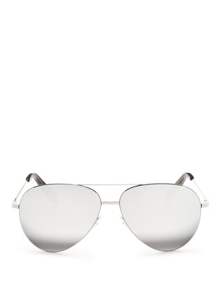 Main View - Click To Enlarge - Victoria Beckham - 'Classic Victoria Feather' mirror aviator sunglasses