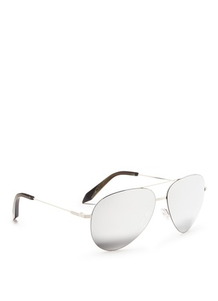 Figure View - Click To Enlarge - Victoria Beckham - 'Classic Victoria Feather' mirror aviator sunglasses
