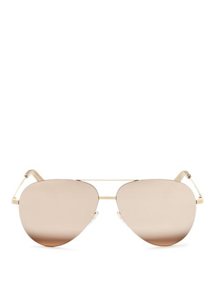Main View - Click To Enlarge - Victoria Beckham - 'Classic Victoria Feather' 18k gold mirror aviator sunglasses