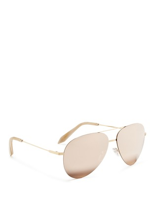 Figure View - Click To Enlarge - Victoria Beckham - 'Classic Victoria Feather' 18k gold mirror aviator sunglasses
