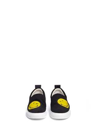 Front View - Click To Enlarge - Joshua Sanders - 'Smile' patch felt skate slip-ons
