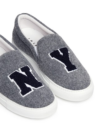 Detail View - Click To Enlarge - Joshua Sanders - 'N.Y' fleece letter felt skate slip-ons