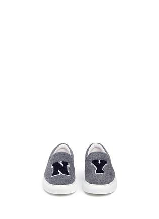 Joshua Sanders-'N.Y' fleece letter felt skate slip-ons