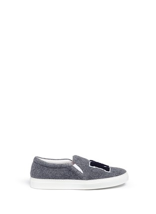 Main View - Click To Enlarge - Joshua Sanders - 'N.Y' fleece letter felt skate slip-ons