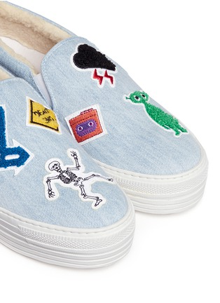 Detail View - Click To Enlarge - Joshua Sanders - 'Paninaro' patch denim skate slip-ons