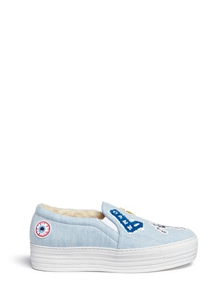 Main View - Click To Enlarge - Joshua Sanders - 'Paninaro' patch denim skate slip-ons