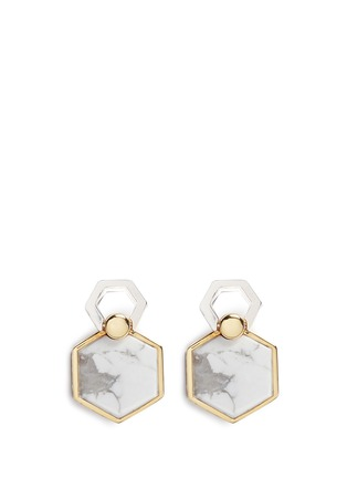 Detail View - Click To Enlarge - W.Britt - 'Hexagon Flip' inset howlite stud earrings