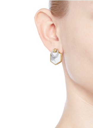 - W.Britt - 'Hexagon Flip' inset howlite stud earrings