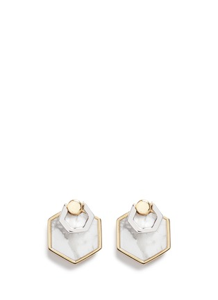 Main View - Click To Enlarge - W.Britt - 'Hexagon Flip' inset howlite stud earrings