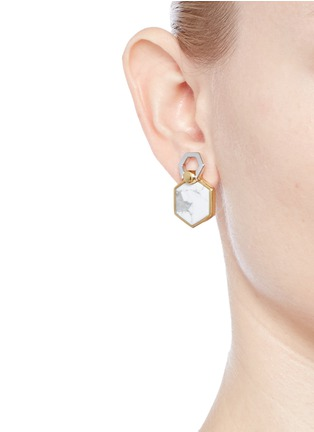 Figure View - Click To Enlarge - W.Britt - 'Hexagon Flip' inset howlite stud earrings