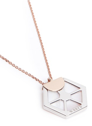 Detail View - Click To Enlarge - W.Britt - 'Hexagon' rose quartz pendant necklace