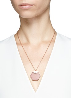 W.Britt 'Hexagon' rose quartz pendant necklace