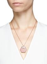 'Hexagon' rose quartz pendant necklace