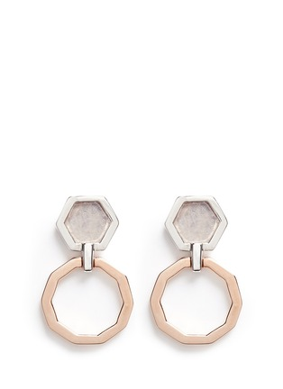 Detail View - Click To Enlarge - W.Britt - 'Mini Decagon' rose quartz stud earrings