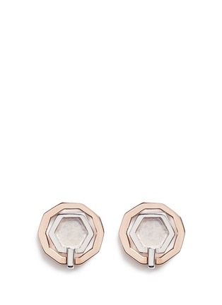 Main View - Click To Enlarge - W.Britt - 'Mini Decagon' rose quartz stud earrings
