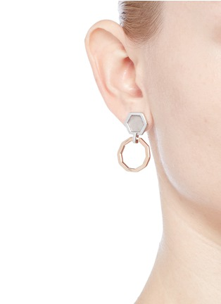 Figure View - Click To Enlarge - W.Britt - 'Mini Decagon' rose quartz stud earrings
