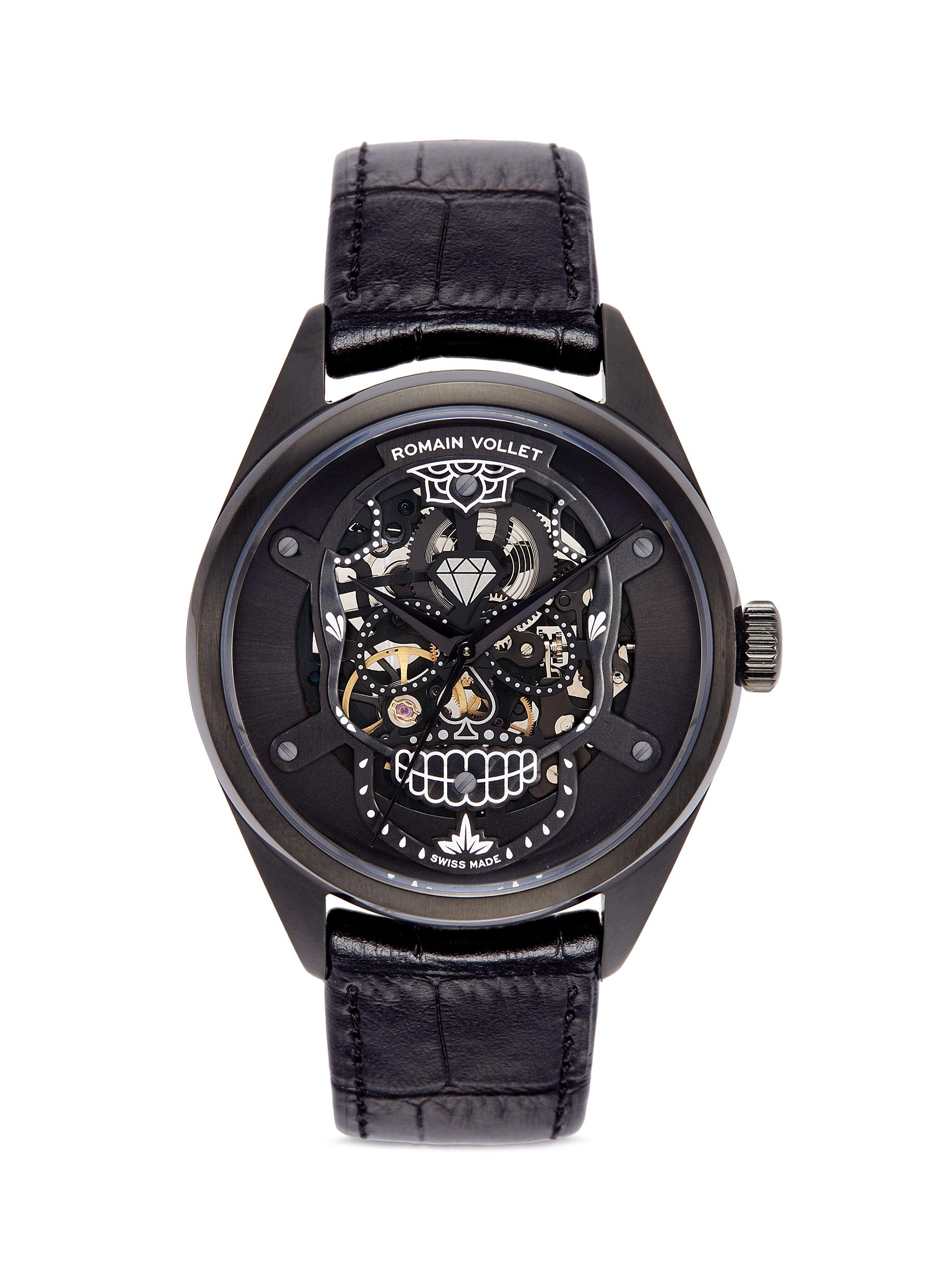 romain vollet male motor skull 555 deepblack skeleton watch