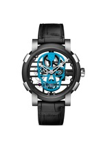 Skylab 48 Speed metal skull skeleton watch - Cyan