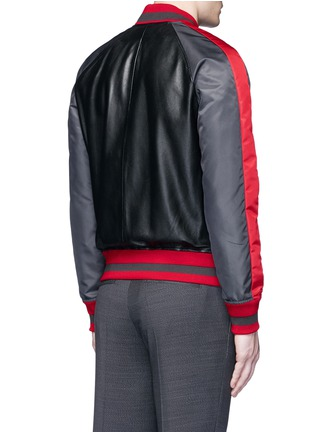 Back View - Click To Enlarge - Givenchy - Stripe satin sleeve leather teddy jacket