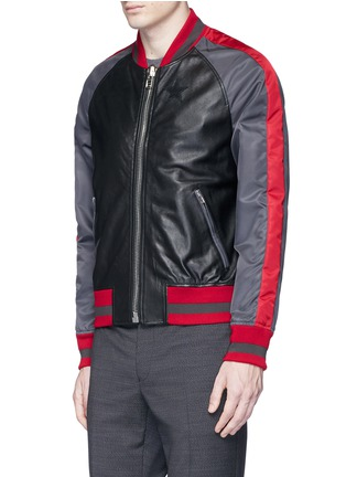 Front View - Click To Enlarge - Givenchy - Stripe satin sleeve leather teddy jacket