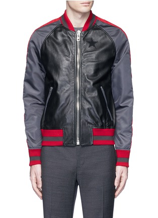 Main View - Click To Enlarge - Givenchy - Stripe satin sleeve leather teddy jacket