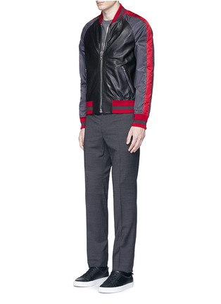 Figure View - Click To Enlarge - Givenchy - Stripe satin sleeve leather teddy jacket