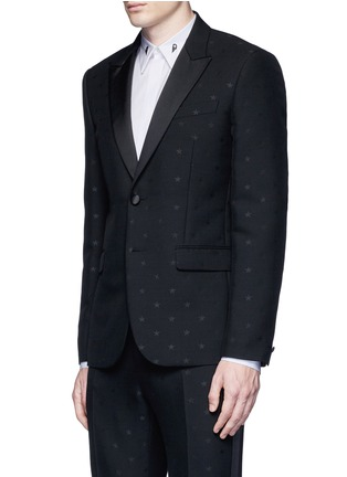 Front View - Click To Enlarge - Givenchy - Satin lapel star jacquard tuxedo suit
