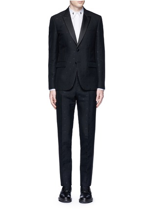 Main View - Click To Enlarge - Givenchy - Satin lapel star jacquard tuxedo suit