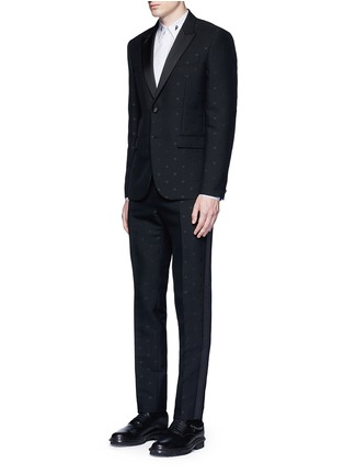 Figure View - Click To Enlarge - Givenchy - Satin lapel star jacquard tuxedo suit