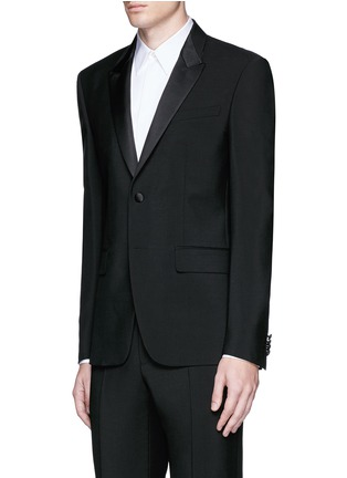 Front View - Click To Enlarge - Givenchy - Satin lapel wool-Mohair tuxedo suit
