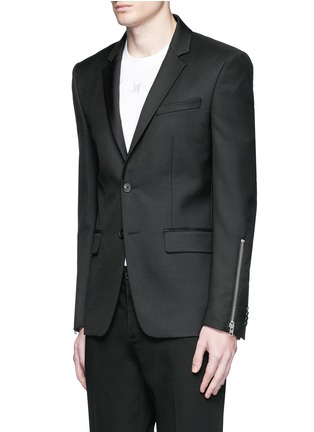 Front View - Click To Enlarge - Givenchy - Zip cuff wool blend twill blazer