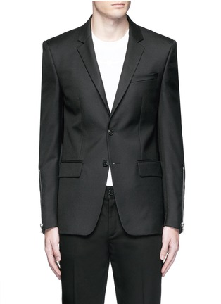 Main View - Click To Enlarge - Givenchy - Zip cuff wool blend twill blazer
