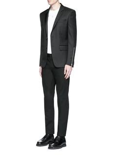 GivenchyZip cuff wool blend twill blazer
