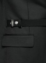 Belted wool blend twill blazer