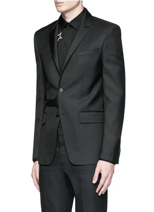 Front View - Click To Enlarge - Givenchy Beauty - Belted wool blend twill blazer