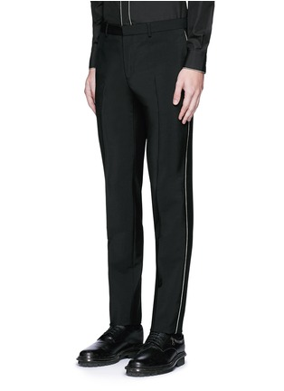 Front View - Click To Enlarge - Givenchy - Curb chain side stripe wool-Mohair pants