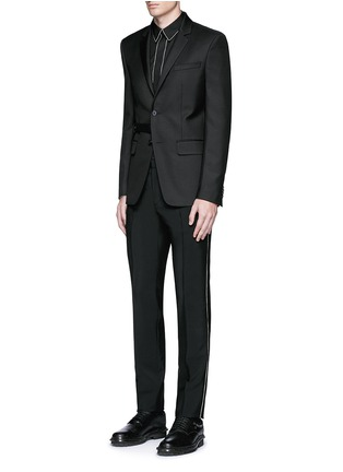 Figure View - Click To Enlarge - Givenchy - Curb chain side stripe wool-Mohair pants