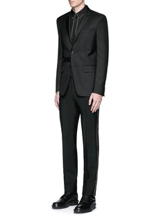 Givenchy Curb chain side stripe wool-Mohair pants