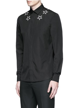 Front View - Click To Enlarge - Givenchy - Star embroidery cotton shirt