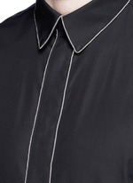 Chain link trim cotton poplin shirt